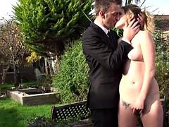 Masturbating slut rough fingerfucked outdoors