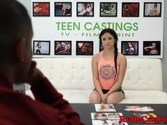 Casting teenie banged in cowgirl position