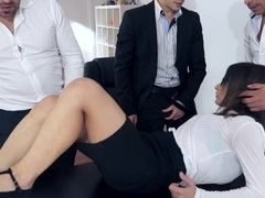 A girl is getting penetrated in the office by her business partners