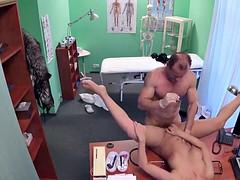 Busty brunette Eveline rides doctors cock until cumshot