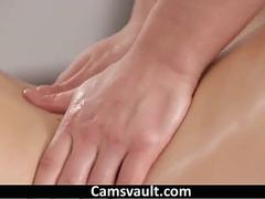 Sexy babe gets smashed by her masseuse