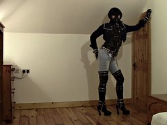 amazing latex and leather jeans PVC fetish thboots