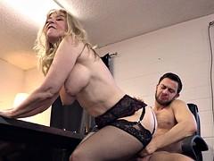 Naughty blonde cougar seduces a lucky horny stallion
