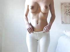 Hot babe big boobs tits dark nipples hairy cameltoe pussy