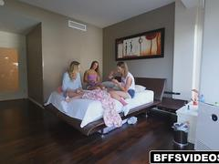A horny stepbro sneaks into bed with his gorgeous stepsister and her girlfriends having a sleepover