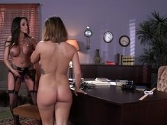 Sensuous lesbians with hot forms use toys for receiving orgasms