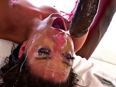 Whore gets messy with long black dick down her throat