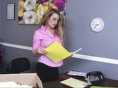Grosse titten, Blondine, Lingerie, Büro, Strümpfe