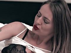 Hairy Natasha Starr Masturbating on a bed