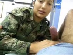 Real Latin Lady SOLDIER MILITARY give a bj a penis
