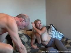 Horny old man wants to bang this blonde MILF right now
