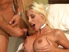 Blonde nurse with huge boobs