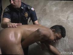 Dirty black twink gets smashed doggy style by a cop