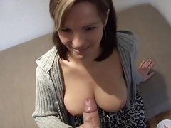 Wife Jerks A Thick Purple rod Off Onto Her Mammeries