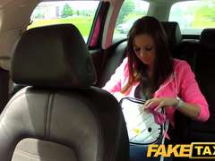 FakeTaxi College damsel with gigantic all-natural melons pays her way