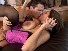 A horny housewife is getting her pussy rammed by her lover