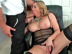 Impressive blonde MILF with gigantic tits gets a big dick