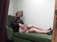 Bushy granny upskirt and vagina tease