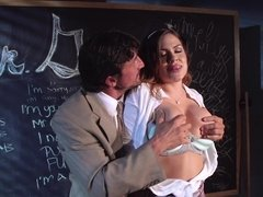 Busty student girl helps tired teacher to relax and have fun
