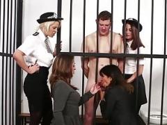 CFNM police gals dominate naked prisoner