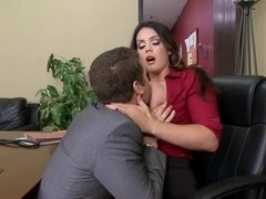 A hot milf is getting fucked by her bosses son in this video