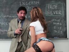 De facto schoolgirl in stockings fucked nicely