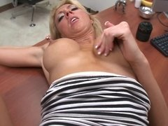 Blasting cunt with his big cock in an office back room