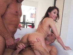 Two handsome Euro dudes are ready to fuck this brunette darling