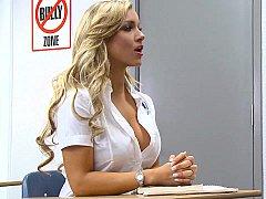 Blonde, Sucer une bite, Déshabiller, Mixte, Collège université, Étudiant, Professeur, Uniforme
