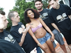 Zoey Reyes Blows off To A Group Of Horny White Fellas