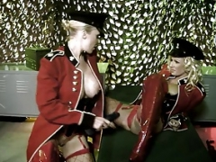 Sexy soldier blondes give blowjob army guy's tool outdoors