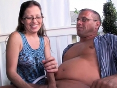 Nerdy old tugging husband outdoor