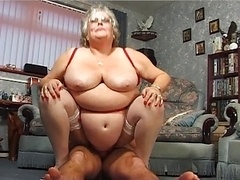 Real bbw granny gives head and gets down and dirty in stockings