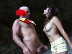 Breasty Chick Gets Fucked By Clown Outdoors