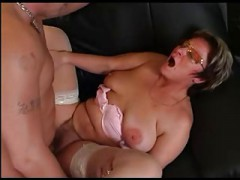 Granny In Glasses And plus Stockings Give blowjob And plus Get down and dirty