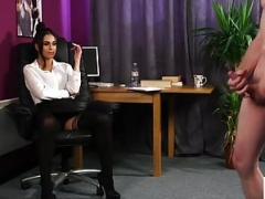 British CFNM office chick instructs jerkoff