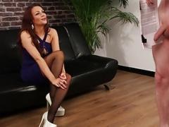 Smoking hot british voyeur instructs sub to tug