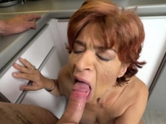 Having an intercourse a short haired granny