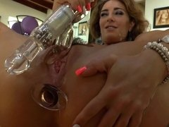 Dildos go right into the cunts and assholes in video compilation