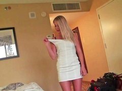 Blonde does a striptease and then she does a blow job