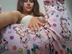Hot brunette 18-19 y.o. jack off in pajamas