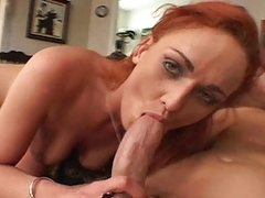 Small Tits Redhead Rides A Sizeable One