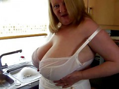 Sexy Large beautiful women Mature Play With Her Large Tits In Kitchen
