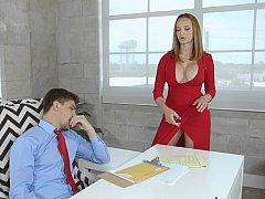 アメリカ人, デカパイ, 巨乳な, エロ熟女, オフィス, オッパイの