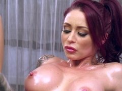 Redhead and a blonde are having one very kinky massage
