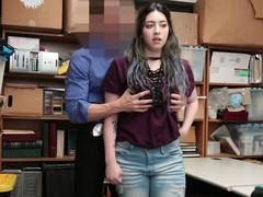 Amilia is caught red handed trying to shoplift by her excited stepdad