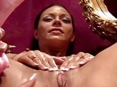 Big tits dyke pleasing MILFs pussy and additionally ass with a dildo