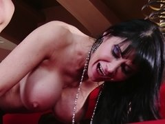 A big breasted milf is receiving a cock in her cunt in a classy house
