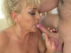 Aroused kinky granny is keen to get banged by this guy with a mammoth member in many positions
