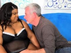 Rotund black girl Peaches love takes large white dick